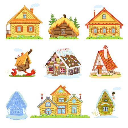 Set of fairytale houses. Russian huts, log house, hut on chicken legs, a gingerbread house, an ice house, tower.