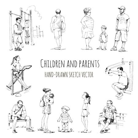 Moms, Dads, Grandparents, stroll with children. Parents and kid's. Games in the open air. Hand drawn vector sketch