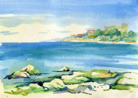 Beautiful watercolor landscape. View of the sea, green shore and port. Sevastopol, Crimea. Travels. Tourism.