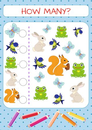 Set of funny characters: animals, birds, insects, plants. Butterfly tit frog hare squirrel