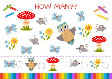 Set of funny characters: animals, birds, insects, plants. Butterfly, owl, mushroom, mouse, flower