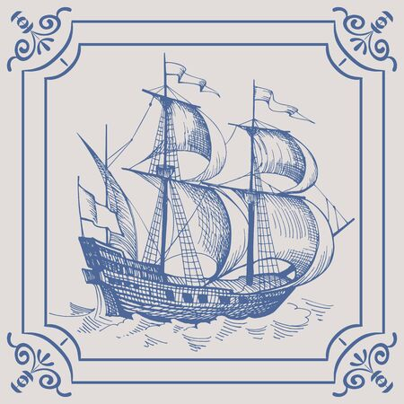 Old caravel. Ship on the Blue Dutch tile, frigate, vintage sailboat, Sailing vessel , glazed porcelain ceramic. Banque d'images