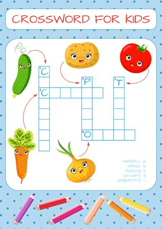 Mini-game: crossword for children. Learning English words. Set of funny characters: carrots, cucumber, onion, tomato, potato. Vector illustration for kids.