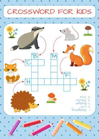 Mini-game: crossword for children. Learning English words. Hedgehog, cat, badger, mouse, fox