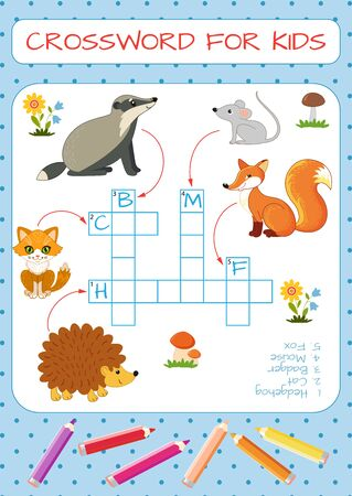 Mini-game: crossword for children. Learning English words. Hedgehog, cat, badger, mouse, fox