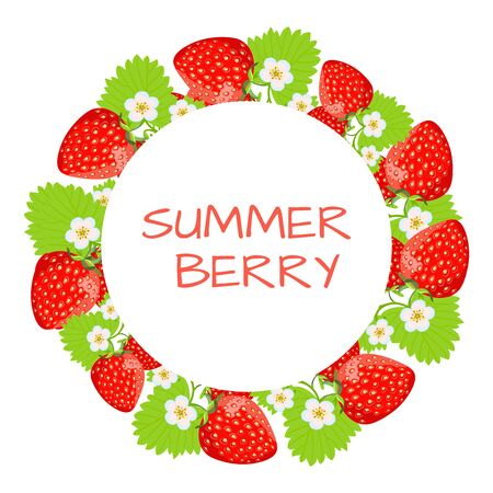 Beautiful ornament of strawberries. Round frame for your text. Vector illustration