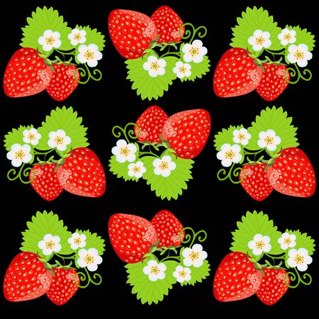 Beautiful strawberry background. Ripe berries of garden strawberries with flowers and leaves on a black background.