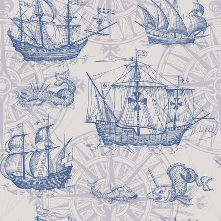 Old caravel, vintage sailboat, sea monster. Monochrome Hand drawn sketch. Vector seamless pattern for boy. Detail of the old geographical maps of sea. Vettoriali