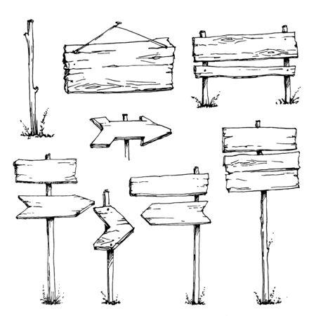 Panneaux d'affichage en bois Croquis de vecteur. Plaque en bois. Vecteur de dessin animé et blanc, dessinés à la main, style de croquis, isolé sur fond blanc Vecteurs