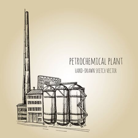 Chemical plant, the production of polymers, hand-drawn sketch vector. Doodle ink drawn background sketch in art retro style with space for text Vectores