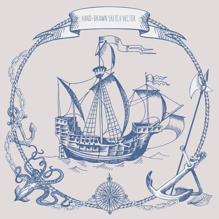 Happy Columbus Day Illustration. Hand Drawn Columbus ship. Vintage border frame. Old caravel, sailboat, octopus, anchor, wind rose
