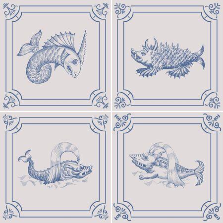 Mythological vintage sea monster on the Blue Dutch tile. Imitation. Glazed porcelain ceramic. Çizim