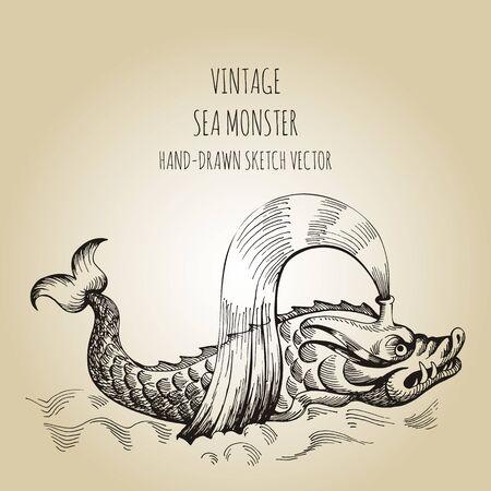 Mythological vintage sea monster. Fragment of decoration old pirate geographical map Çizim