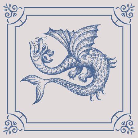 Mythological vintage sea monster on the Blue Dutch tile. Imitation. Glazed porcelain ceramic.