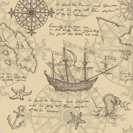 Old caravel, vintage sailboat, sea monster. Monochrome Hand drawn sketch. Vector seamless pattern for boy. Detail of the old geographical maps of sea. Illustration