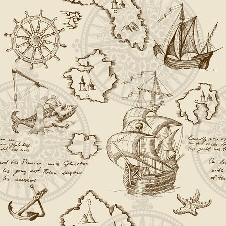 Old caravel, vintage sailboat, sea monster. Monochrome Hand drawn sketch. Vector seamless pattern for boy. Detail of the old geographical maps of sea. Vetores