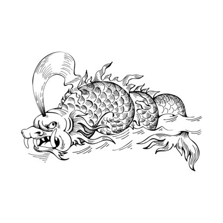Mythological vintage sea monster. Fragment of decoration old pirate geographical map Illustration