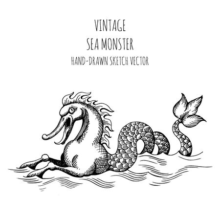 Mythological vintage sea monster. Fragment of decoration old pirate geographical map Stock Illustratie