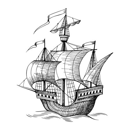 Old caravel, vintage sailboat. Hand drawn sketch. Detail of the old geographical maps of sea Vecteurs