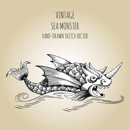 Mythological vintage sea monster. Fragment of decoration old pirate geographical map Illusztráció