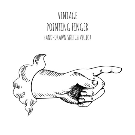 Hand gesture. Forefinger. Finger pointing. Hand drawn illustration sketch vector