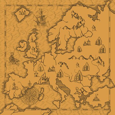Old caravelle, vintage sailboat, sea monster. Detail of fantasy geographical maps Vettoriali