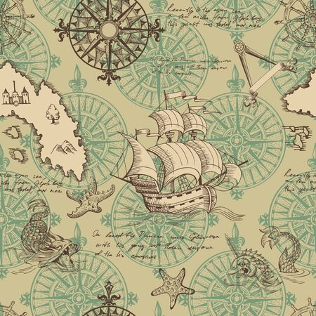 Old caravel, vintage sailboat, sea monster. Monochrome Hand drawn sketch. Vector seamless pattern for boy. Detail of the old geographical maps of sea. Vectores