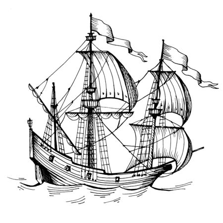 Old caravel, vintage sailboat. Hand drawn sketch. Detail of the old geographical maps of sea Imagens