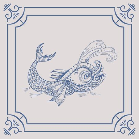 Mythological vintage sea monster on the Blue Dutch tile. Imitation. Glazed porcelain ceramic. Illustration