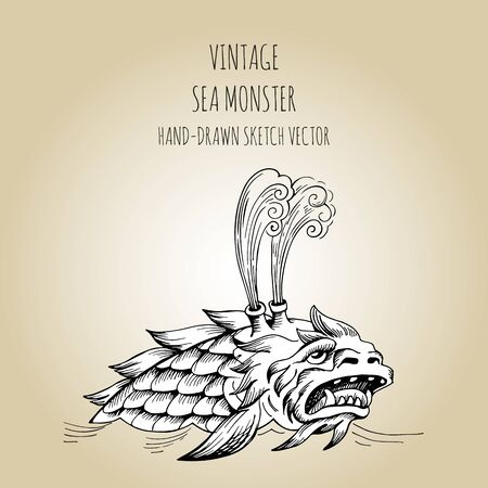 Mythological vintage sea monster. Fragment of decoration old pirate geographical map