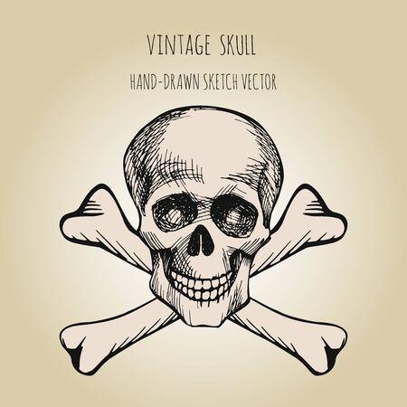 Human skull. Pirate symbol. Jolly Roger. Hand drawn sketch vector Vetores