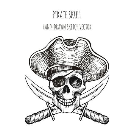 Human skull. Pirate symbol. Jolly Roger. Human skull. Pirate symbol. Jolly Roger. Bones, cocked hat, bandage, daggers. Hand drawn sketch vector. Hand drawn sketch vector