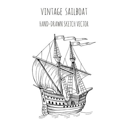 Old caravel, vintage sailboat. Hand drawn sketch. Detail of the old geographical maps of sea Vettoriali