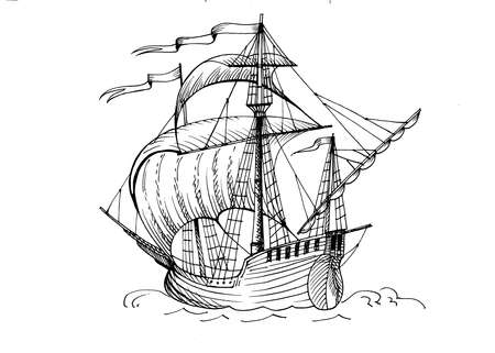Old caravel, vintage sailboat. Hand drawn sketch. Detail of the old geographical maps of sea Stock Photo