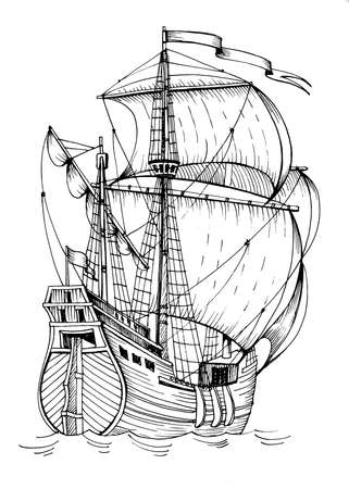 Old caravel, vintage sailboat. Hand drawn sketch. Detail of the old geographical maps of sea Stockfoto