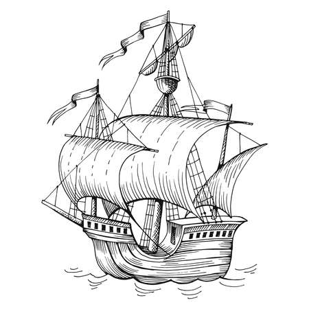 Old caravel, vintage sailboat. Hand drawn sketch vector. Detail of the old geographical maps of sea