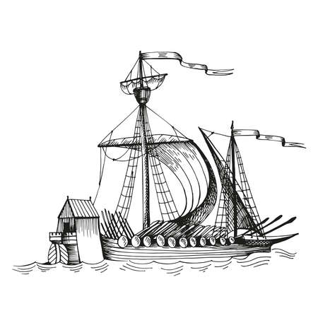 Old caravel, vintage sailboat. Hand drawn sketch vector. Detail of the old geographical maps of sea Vetores