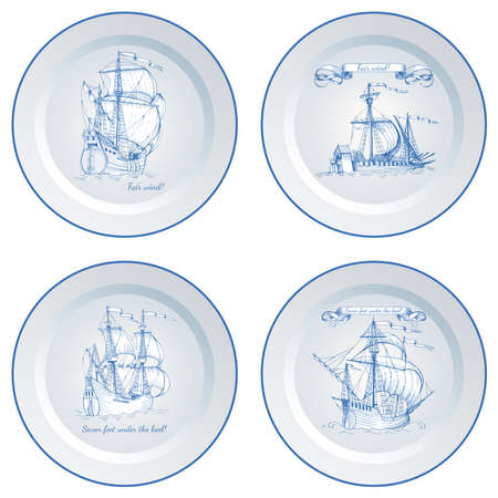 Vintage ship sailboat. The image on decorative wall plate. The interior decoration in the style of Dutch ceramics.