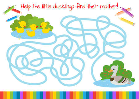 Help the little ducklings find their mother! Educational mini-game for children. Cartoon vector illustration