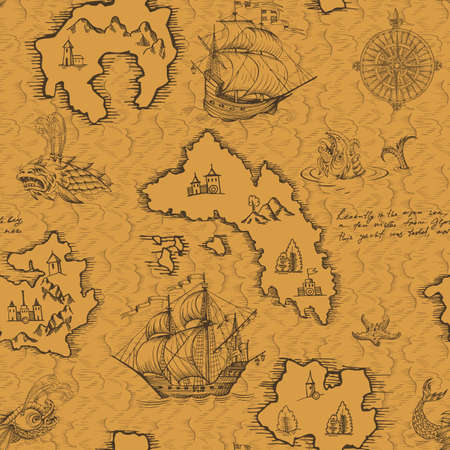 Old caravel, vintage sailboat, sea monster. Monochrome Hand drawn sketch. Vector seamless pattern for boy. Detail of the old geographical maps of sea. Stock Photo