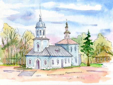 Cityscape. Watercolor. The old Cathedral in Vologda, Russia. The sky, the domes, the roofs of the houses. Banco de Imagens