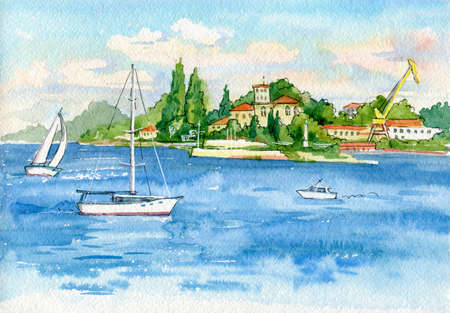 Beautiful watercolor landscape. View of the sea and ships in the port. Southern Bay of Sevastopol. Crimea.