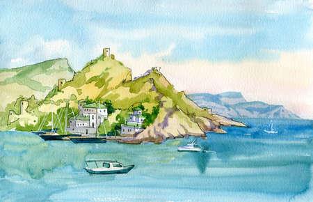Watercolor seascape. Seashore surrounded by mountains. Medieval Italian fortress. Sea, rocks, mountains, port, ships. Balaclava, Sevastopol, Crimea.
