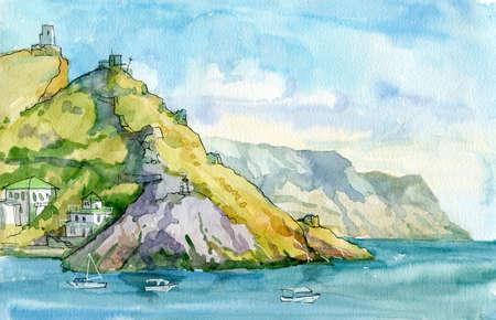 Watercolor seascape. Seashore surrounded by mountains. Mediterranean, Italy, Crimea, southern coast of Europe. Balaclava, Sevastopol, Crimea. Travels Tourism