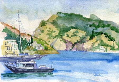 Watercolor seascape. Seashore surrounded by mountains. Mediterranean, Italy, Crimea, southern coast of Europe. Port, ships. Balaclava, Sevastopol, Crimea. Travels Tourism