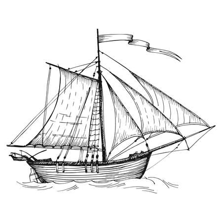 Old caravel, vintage sailboat. Hand drawn vector sketch. Detail of the old geographical maps of sea Vetores