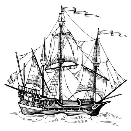 Old caravel, vintage sailboat. Hand drawn vector sketch. Detail of the old geographical maps of sea Vecteurs