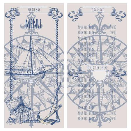 Adventure stories. Pirate background. Vintage border frame. Menu Vektorové ilustrace