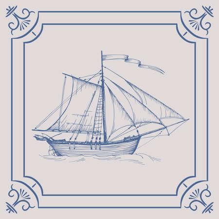 Old caravel. Ship on the Blue Dutch tile, frigate, vintage sailboat, Sailing vessel, glazed porcelain ceramic.