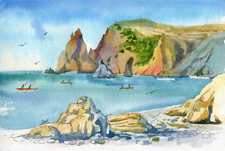 A watercolor seascape, a quick sketch from life. Rocky seashore in Crimea, Cape Fiolent. Sea, mountains, sky, idyllic landscape.